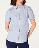 7ef5a9611dd23 Anne Klein Cotton Striped Button-Up Blouse