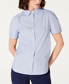 Anne Klein Cotton Striped Button-Up Blouse