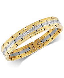 Diamond Link Bracelet (1/2 ct. t.w.) in Stainless Steel & Gold Ion-Plate, Created for Macy's