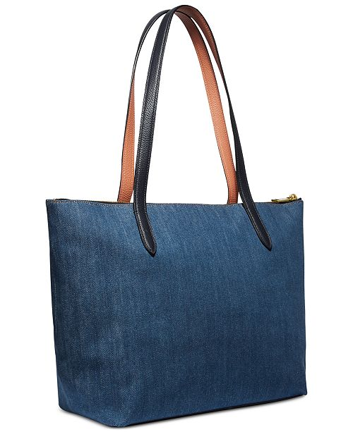 92e2ba04e7c9 COACH Denim Taylor Tote - Handbags   Accessories - Macy s
