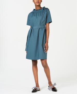 Weekend Max Mara Dresses DEDALO COTTON RUCHED-NECK A-LINE DRESS