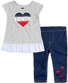 Levi's® Baby Girls 2-Pc. Peplum Tunic & Leggings Set