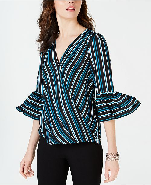 INC International Concepts I.N.C. Striped Surplice Top, Created for Macy's