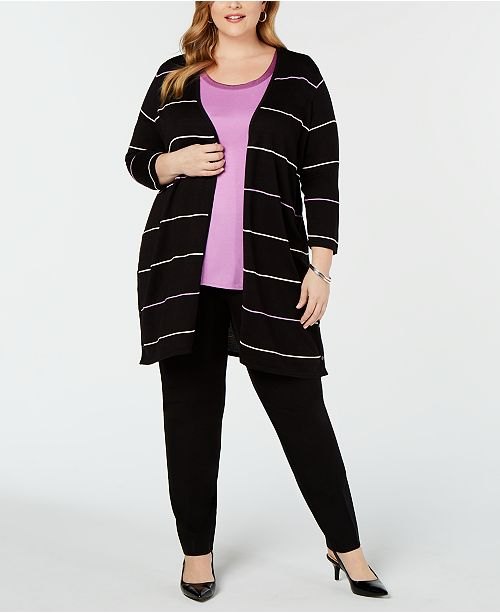 Alfani Plus Size Striped Cardigan, Created for Macy's