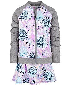 Ideology Little Girls Floral-Print Zip-Up Jacket & Skort, Created for Macy's