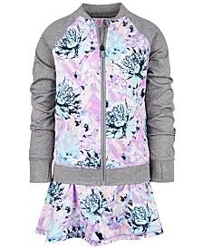Ideology Little Girls Floral-Print Zip-Up Jacket & Skort, Created for Macy's