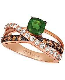Pistachio Diopside (3/4 ct. t.w.) & Diamond (3/4 ct. t.w.) Ring in 14k Rose gold