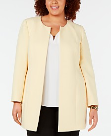 Kasper Plus Size Textured Crepe Jacket