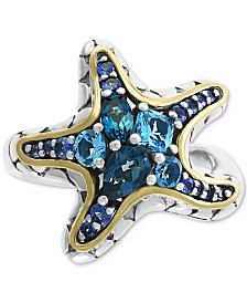 EFFY® Blue Topaz (1-1/2 ct.t.w) & Sapphire (5/8 ct. t.w.) Statement Ring in 18k Gold Over Sterling Silver