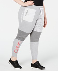 Calvin Klein Performance Plus Size Colorblocked Logo Joggers