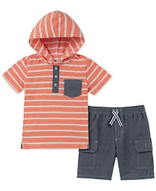 Kids Headquarters Toddler Boys 2-Pc. Hooded Stripe T-Shirt & Chambray Shorts Set