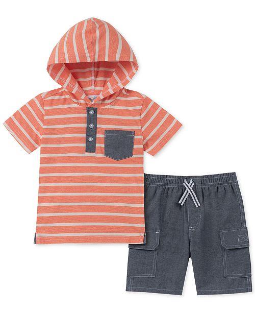 Kids Headquarters Toddler Boys 2-Pc. Hooded Stripe T-Shirt & Chambray Shorts Set