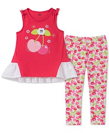 Kids Headquarters Toddler Girls 2-Pc. Cherry Tunic & Leggings Set