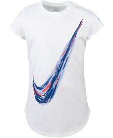 Nike Little Girls Swoosh-Print Cotton T-Shirt