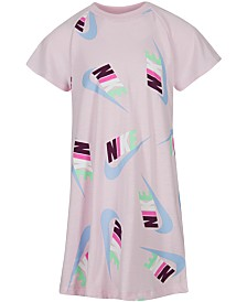 Nike Little Girls Logo-Print T-Shirt Dress