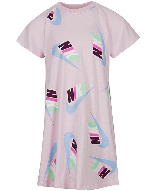 bede27250 Nike Little Girls Logo-Print T-Shirt Dress & Reviews - Dresses ...