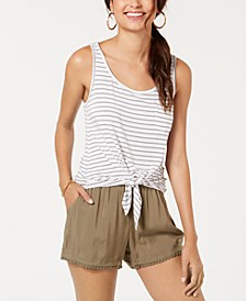 Juniors' Striped Tie-Front Tank Top