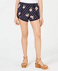 Juniors' Printed Pompom-Trimmed Soft Shorts