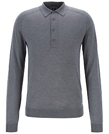BOSS Men's Fontani Slim-Fit Long-Sleeved Silk Polo Shirt