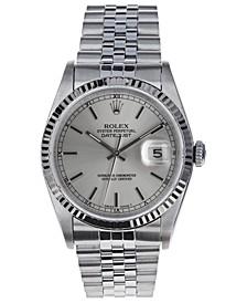 Men's Swiss Automatic Datejust Jubilee 18K White Gold & Stainless Steel Bracelet Watch, 36mm