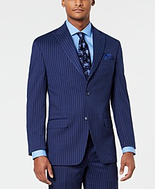 Men's Classic-Fit Stretch Blue/Pink Pinstripe Suit Jacket