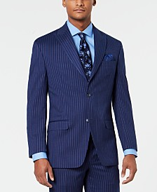 Sean John Men's Classic-Fit Stretch Blue/Pink Pinstripe Suit Jacket