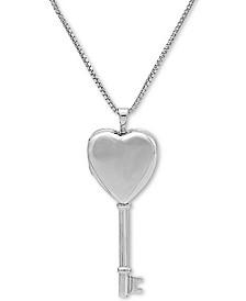 """Heart Key Locket 18"""" Pendant Necklace in Sterling Silver"""