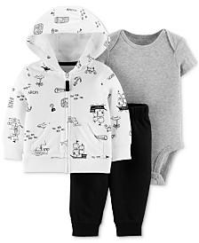 Carter's Baby Boys 3-Pc. Map-Print Cotton Hoodie, Bodysuit & Pants Set