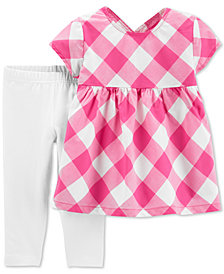 Carter's Baby Girls 2-Pc. Gingham-Print Tunic & Leggings Set