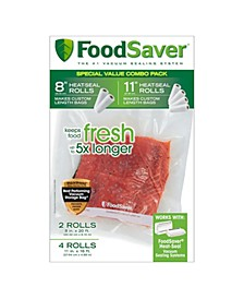 "8"" and 11"" Vacuum Seal Rolls with BPA-Free Multi-Layer Construction for Food Preservation, 6-Pack"