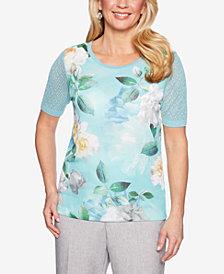 Alfred Dunner Versailles Floral-Print Eyelet-Sleeve Top