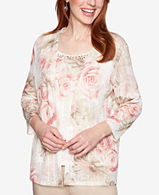 Alfred Dunner Society Pages Floral-Print Layered Look Top