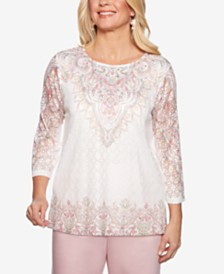 Alfred Dunner Society Pages Studded Lace Top
