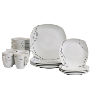Tabletops Unlimited Alec 16-Pc. Ash White Set, Service for 4