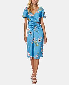 Avec Les Filles Ruched Floral-Print Dress
