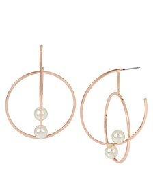 Pearl Rose Gold Double Large Hoop Earrings