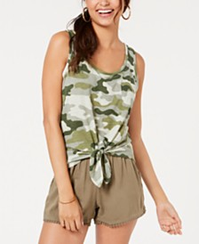 Rebellious One Juniors' Camo Printed Tie-Front Tank Top