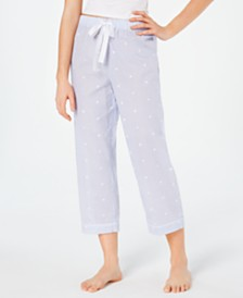 Charter Club Woven Cotton Cropped Pajama Pants, Created for Macy's