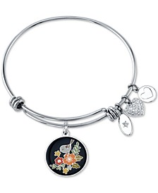 """Grandma, You Make Life Beautiful"" Enamel Flower & Crystal Heart Charm Bangle Bracelet in Stainless Steel"
