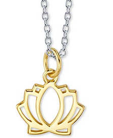 """Lotus Blossom Two-Tone Pendant Necklace in Sterling Silver & Gold-Flash Plated Sterling Silver, 16"""" + 2"""" extender"""