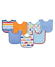 Drooler Bibs, 7-Pack, Blue, One Size