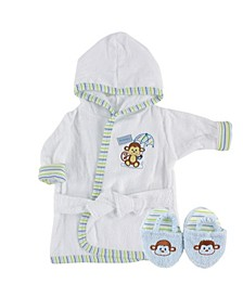 Bath Robe with Slippers, 0-9 Months