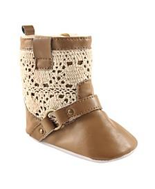 Lace Boots, Tan, 0-6 Months