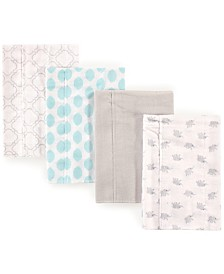 Luvable Friends Flannel Burp Cloth, 4-Pack, One Size