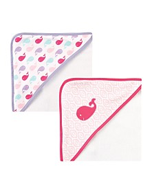 Luvable Friends Hooded Towel, 2-Pack, Pink Whale, One Size