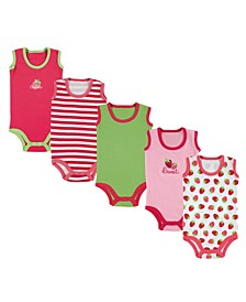 Baby Girls and Boys Crab Sleeveless Bodysuits, Pack of 5