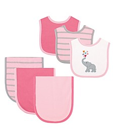 Bibs and Burp Cloth, 6-Piece Set, One Size