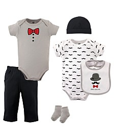 Hudson Baby Bodysuits, Pants, Socks, Bibs and Cap, 6-Piece Set, 0-12 Months