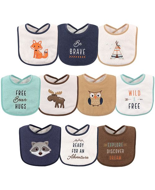 Hudson Baby Drooler Bibs, 10-Pack, Woodland Creatures, One Size