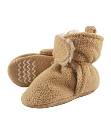 Hudson Baby Baby Sherpa Lined Scooties with Non Skid Bottom, Tan, 2T-4T